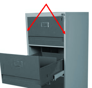 File Cabinet Showing Required Side Strip Necessary To Attach Bars
