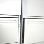 When open, the file locking bar does not interfere with adjoining cabinets